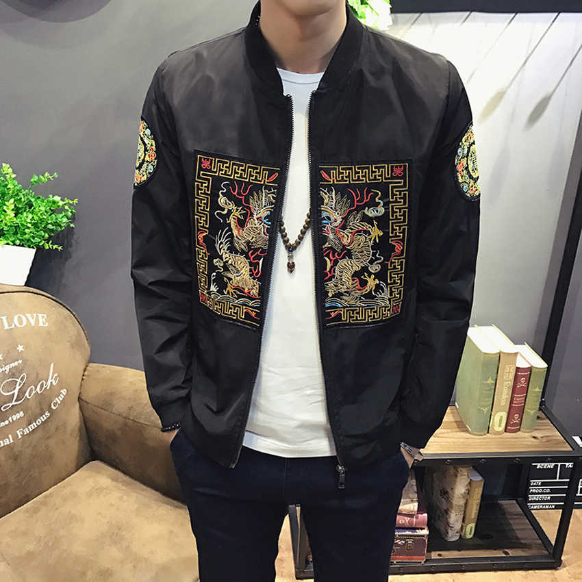 Draak Borduurwerk Traditionele Mannen Bomber Jacket Chinese Stijl Etnische Totem Hip Hop Casual Rits Mode Piloot Jas Outfist