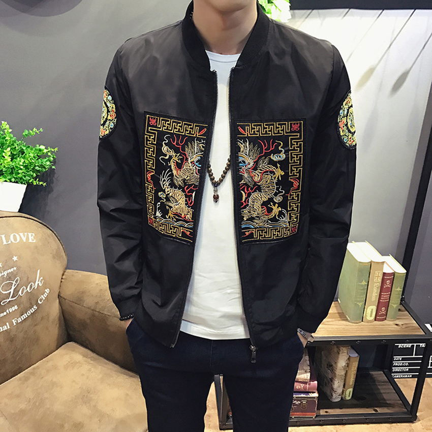 Dragon Embroidery Traditional Men Bomber Jacket Chinese Style Ethnic Totem Hip Hop Casual Zipper Fashion Pilot Coat Outfist