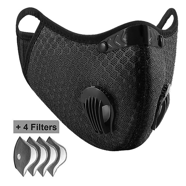 Valve Face Mask With 4 Filters Vent Breathable Respirator Fashion Mouth Cover Masque Bike Outdoor Reusable Protection Mascarilla