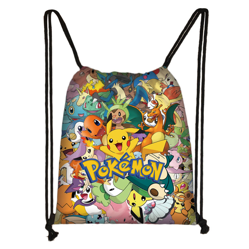 Cartoon Pokemon Print Drawstring Bag Pikachu / Bulbasaur / EEVEE / Psyduck Backpack Boys Girls Storage Bag Kids Book Bag