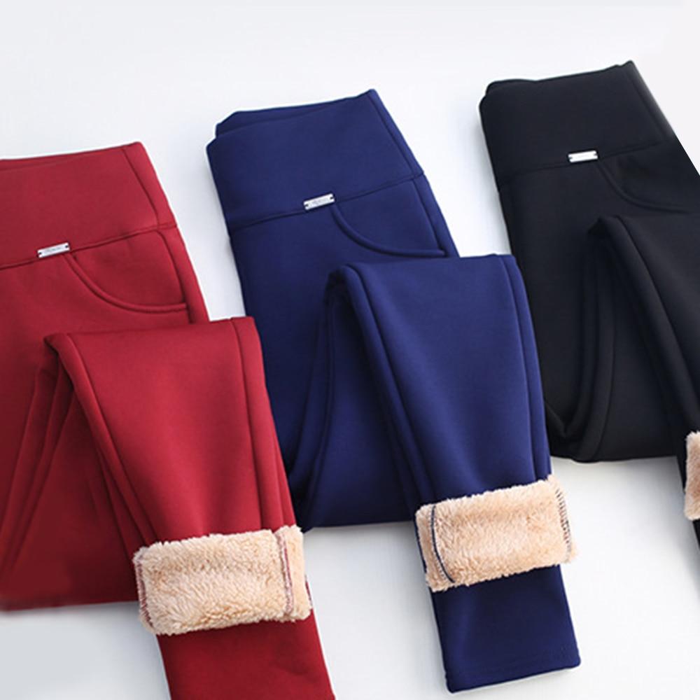 Women Winter Warmer Leggings Pants Solid Cotton Elastic  Fleece Lined Thick Leggin Pants Female Straight Slim Pants Warm Trouser