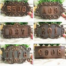 ABS имитация металла бронзовая античная медь номер дома на заказ знак номер двери Наклейка для гостиницы квартиры вилла дверь