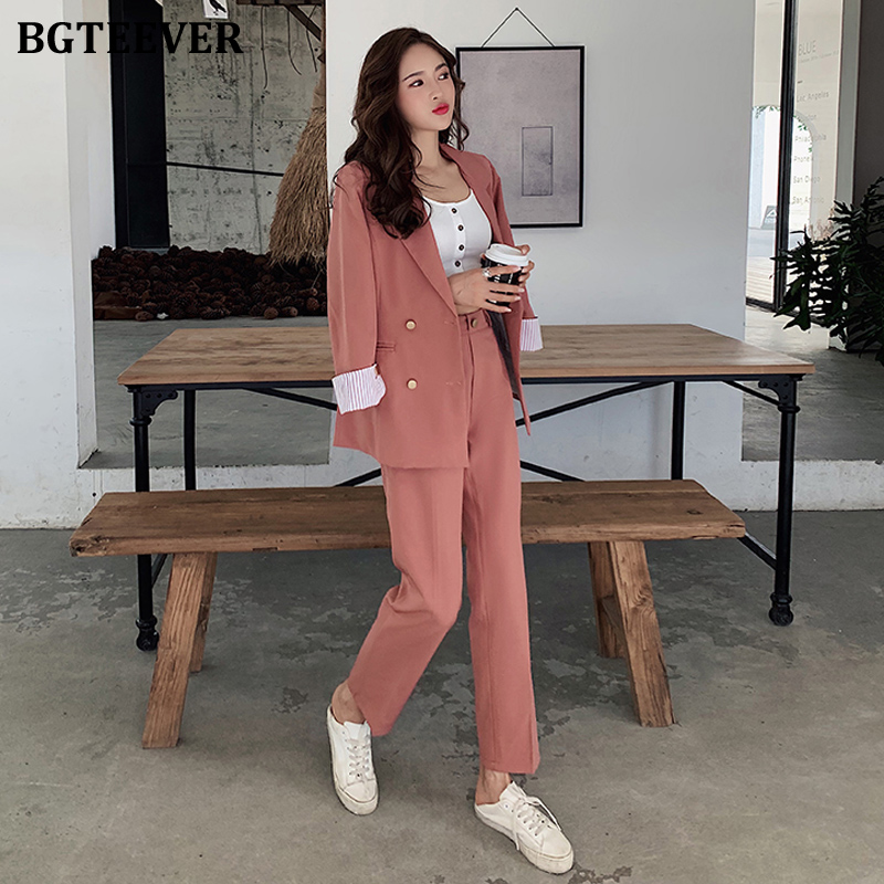 Elegant Brick Red Female Blazer Suit Women Pant Suit Korean Double-breasted Jacket & Pencil Pant Casual Female 2 Pieces Set 2019