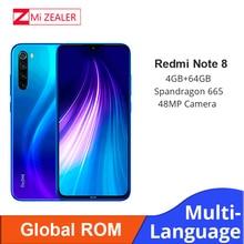 "Küresel ROM Xiaomi Redmi not 8 4GB RAM 64GB ROM Octa çekirdek Smartphone Snapdragon 665 48MP 6.3"" ekran hızlı şarj cep telefonu"