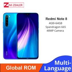 Rom global xiaomi redmi nota 8 4 gb ram 64 gb rom octa núcleo smartphone snapdragon 665 48mp 6.3