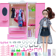 54 Items/Set=1 Wardrobe + 53 Doll Accessories Doll Body Dresses Hangers Necklace Shoes