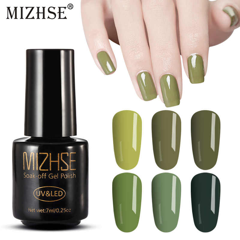 MIZHSE UV Gel Nagellak Gellak UV Polish Gel Lak UV LED Soak Off Nail Art Nail Permanente nail Olijf groene Kleur Serie