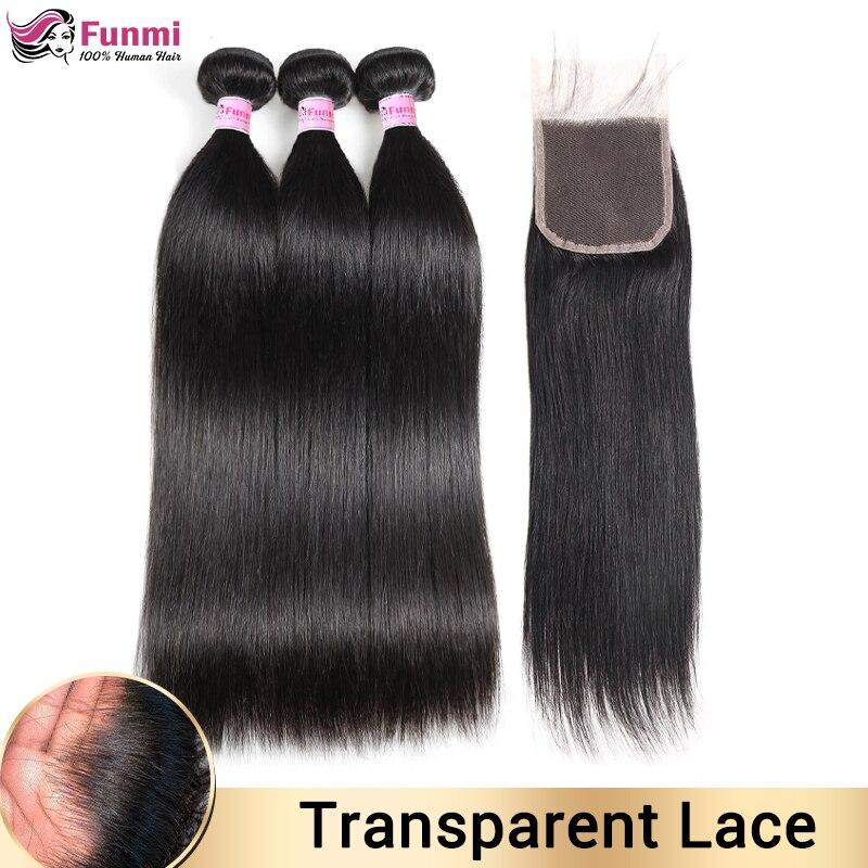 Transparent Lace Closure With Bundles Malaysian Straight Hair Bundles With Closure Human Hair Bundles With Closure Non-Remy