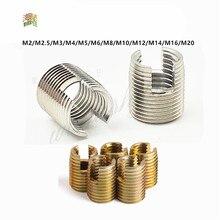 1/5/10 pces m2 a m20 galvanizado inserções rosqueadas de aço inoxidável da inserção do reparo da linha do metal auto rosqueando o parafuso entalhado rosqueado
