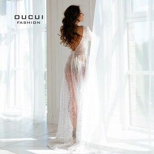 Image 2 - Oucui Robe De mariée élégante, en paillettes, Illusion brillante blanche, style Boho, Robe De mariée transparente, style bohème, 2020