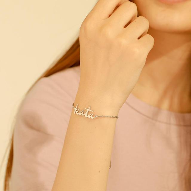 Skyrim Personalized Name Bracelet Women Girls Stainless Steel Chain Letter Customized Charm Bracelets Unique Custom Jewelry Gift 2