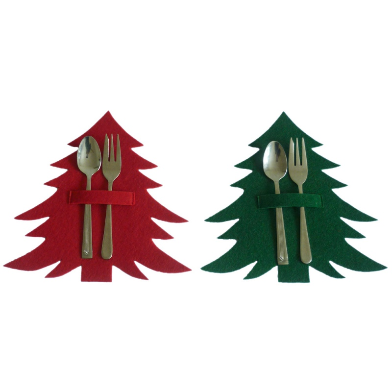 2020 New Year Christmas Tree Design Spoons Decoration For Home Fork Bag Decorative Xmas Party Ornaments Tableware Cutlery Holder