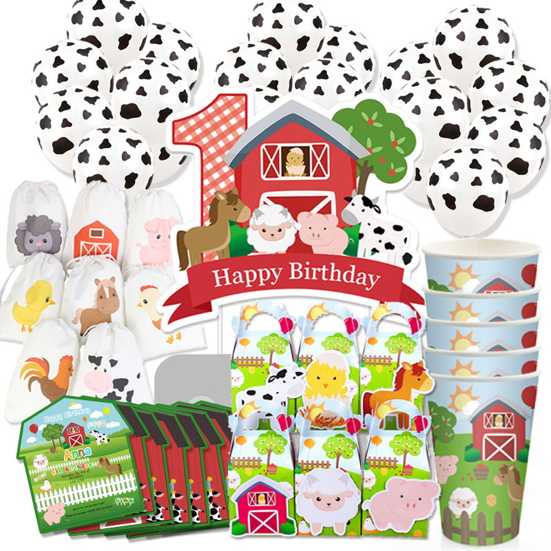 Farm Animals Theme Party Supplies Box Invitation Ceiling Hanging Straws Bags Cake Topper Bottle Label Banner Party Decoration
