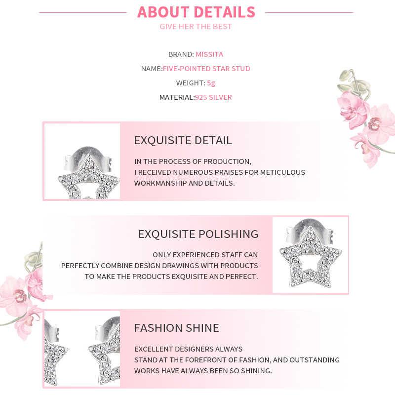 MISSITA 100% 2019 חדש אופנה כוכב Stud עגילים לנשים פשוט תכשיטים חלול כוכב AAA זירקון יומי חיים מתנה