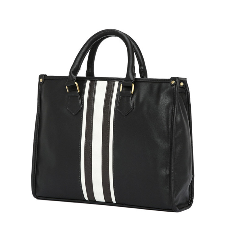 Men's Business Office Laptop Briefcase Vintage PU Leather Tote Women Striped Handbag Large Vintage Shoulder Bag Black Travel Bag