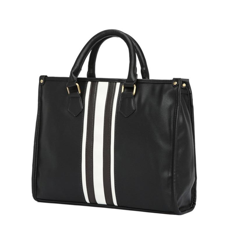 Men's Business Office Laptop Briefcase Vintage PU Leather Tote Women Striped Handbag Large Vintage Shoulder Bag Black Travel Bag