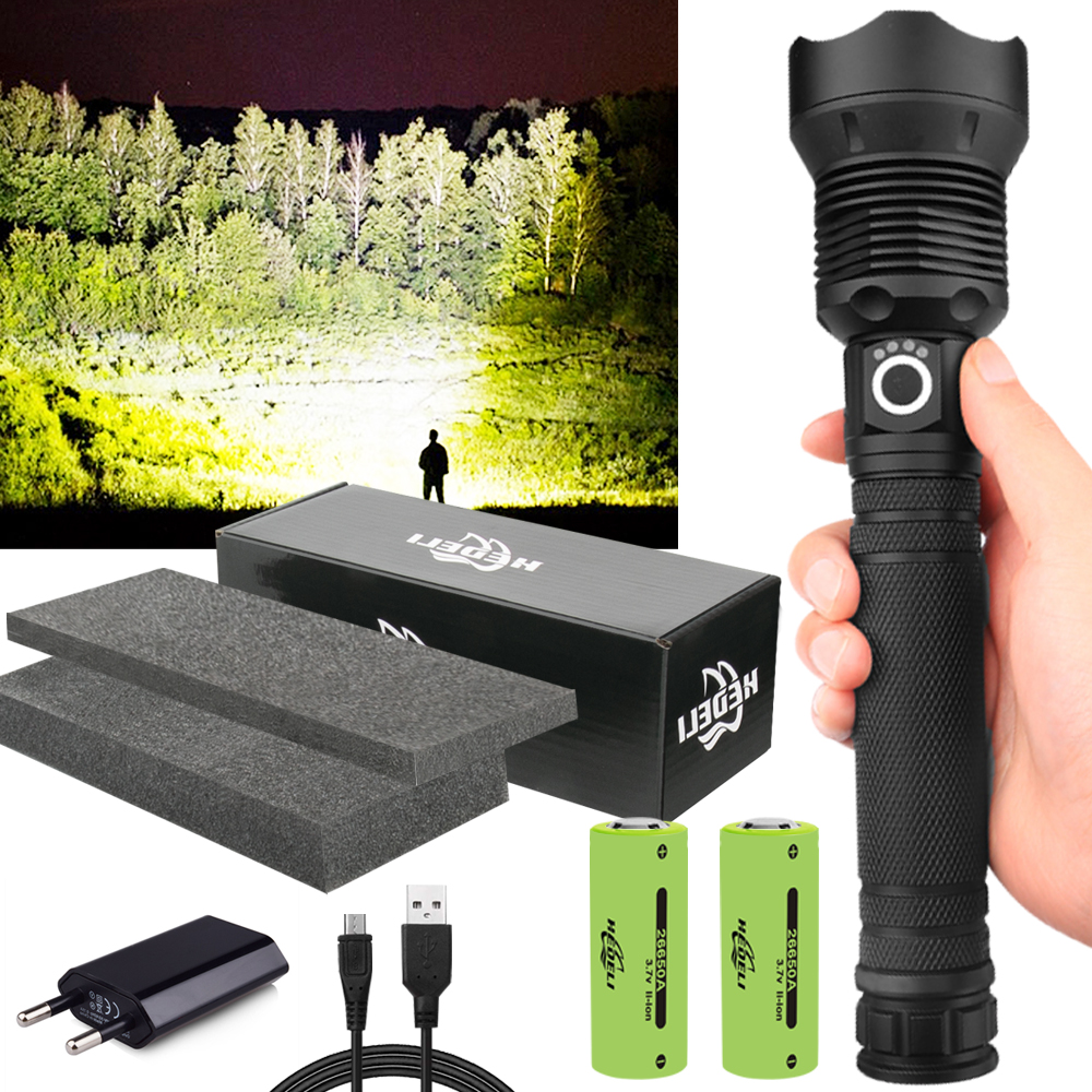 350000cd 1000m XHP90 2 most powerful led flashlight usb Zoom Tactical torch xhp50 18650 or 26650 Rechargeable battery hand light
