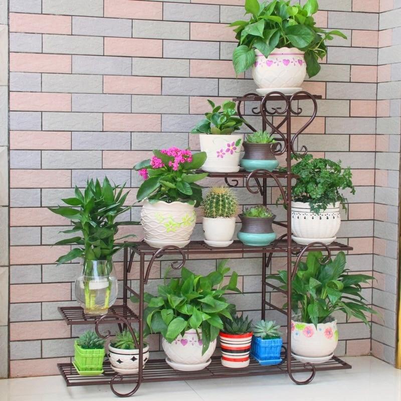 Iron Art Flower Airs Multi-storey Indoor Household Balcony Shelf   Province Space Flowerpot Landing Type