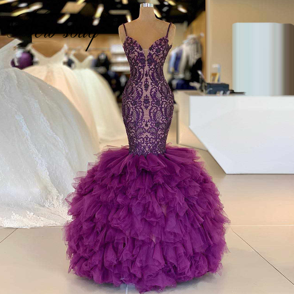 Purple Tiered Tulle Formal Prom Dresses Celebrity Lace Dubai Aibye Gown Robe De Soiree 2020 Turkish Middle East Evening Dresses
