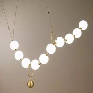 Postmodern Loft Glass Ball Pendant Lamp Creative Necklace Design Restaurant Hall Led Lights Decro Suspension Light Fixtures(China)