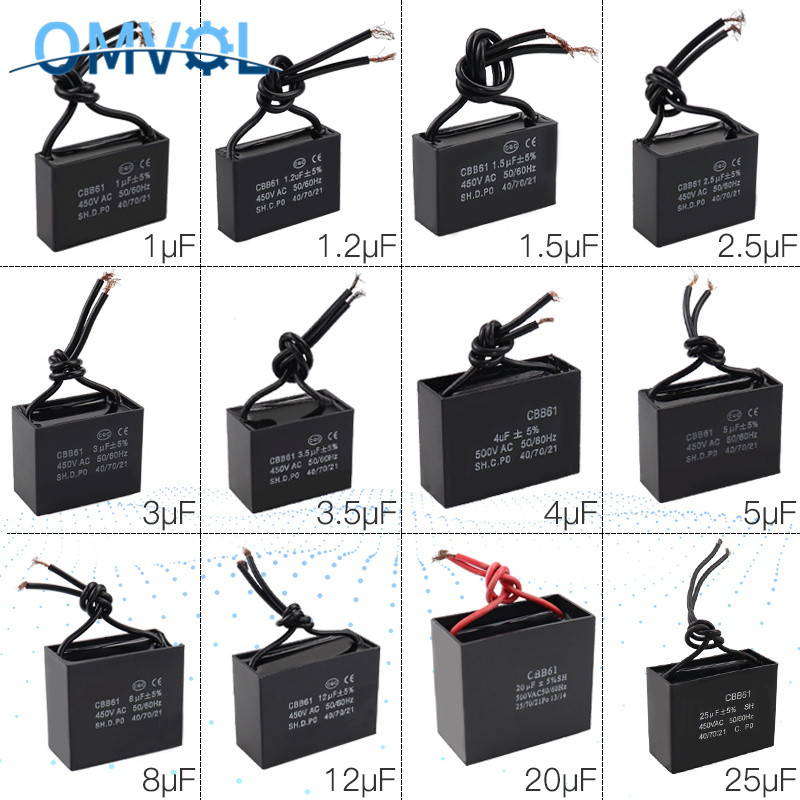 CBB61 1UF+2UF 300 V AC Small Generator Capacitor 50//60Hz