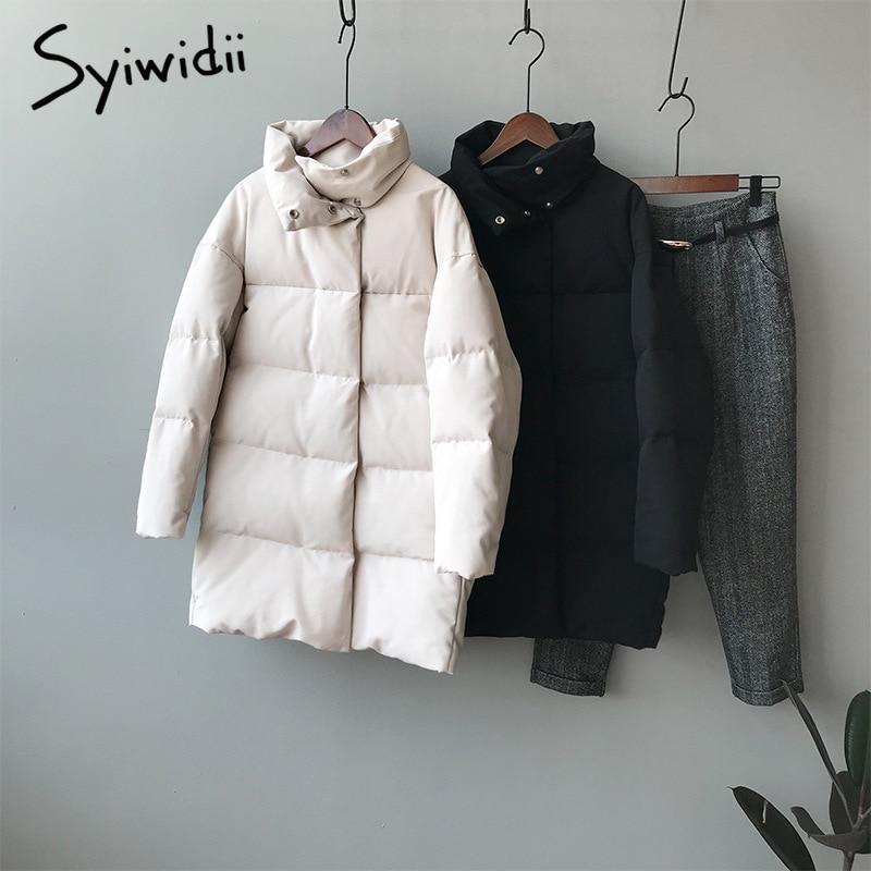 syiwidii woman parkas plus size clothing for women jacket beige black Cotton Casual Warm 2021 fashion Button Long winter coat