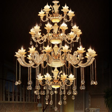 European Crystal Chandelier Villa Compound Building Living Room Glass Hanging Lamp Hotel Zinc Alloy Jade Stair