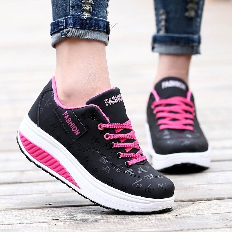 Wedges Shoes Woman 2019 Solid Lace-up Height Increasing Platform Sneakers Women Shoes Waterproof Shoes Women Sneakers De Mujer