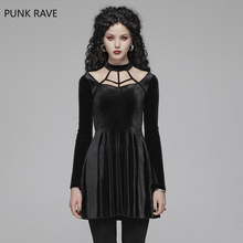 PUNK RAVE Womens Gothic Dress Black Daily Velvet Lace Up Gorgeous Retro Evening Party Night Club Sexy Women Summer Dresses