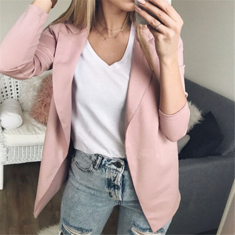 Women Clothes 2020 Fashion Women Long Sleeve Blazer Jackets Womens Business Blazers Solid Coats Formal Work Wear Blazer Mujer