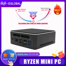 Eglobal novo computador de jogos amd mini pc ryzen r5 3550h r7 2700u vega gráfico m.2 nvme + 2.5 type sata windows 10 hdmi2.0 tipo-c dp