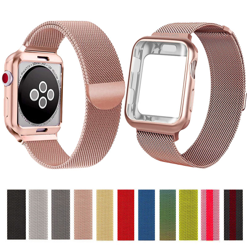 Milanese Loop band for Apple watch strap 44mm 40mm 38mm 42mm bracelet apple watch case for iwatch series 5/4/3/2 watch cover image