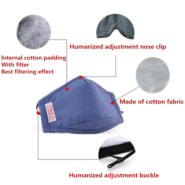 Anti Haze PM2.5 Cotton Mouth Mask Filter 5 Layers Filter Windproof Mouth-muffle Prevention Cold Flu Virus Bacteria Mask Care K03 4