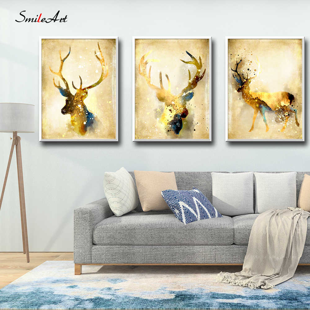Nordic Golden Deer Posters And Prints Living Room Canvas Painting Wall Pictures