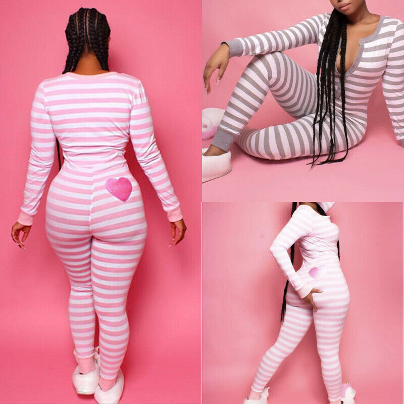 Hot Women Long Sleeve Button V Neck Striped Bodycon Party Stretchy One Piece Pajamas Autumn Nightwear Sleepwear Romper Jumpsuit