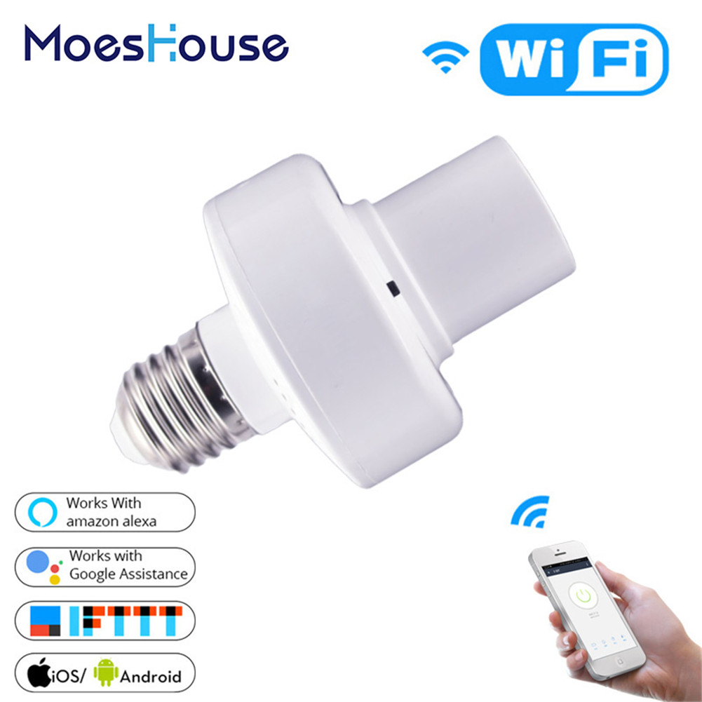 WiFi Smart Light Bulb Adapter Lamp Holder Base AC Smart Life/Tuya Wireless Voice Control with Alexa Google Home E27 E26 85-265V