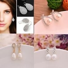 цена на 2019 Korean Style Women Earings Fashion Jewelry Stud Earrings for Women Pendientes Cute Pearl Earrings Rhinestone Stud Earrings
