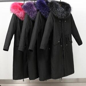Image 5 - Kış ceket pamuk Sustans uzun ceket kadın Parka dış giyim artı boyutu Jaquetas Feminina 2019 büyük kürk yaka kapşonlu aşağı kadın