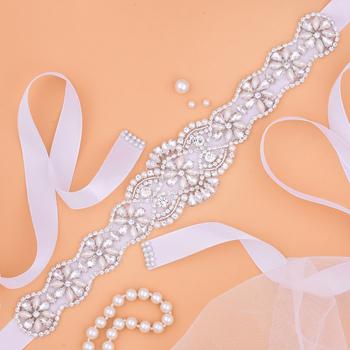 Pearls Wedding Belt Crystal Bridal Belt Sliver Rhinestones satin Bridal Sash For wedding dress accessories J130 tanie i dobre opinie SESTHFAR SILK Dla dorosłych J130S Pasy ślubne Kryształ length11 61inch*width1 97inch (29 5cm*5cm) 106inch (270cm) x 0 78inch(2CM)