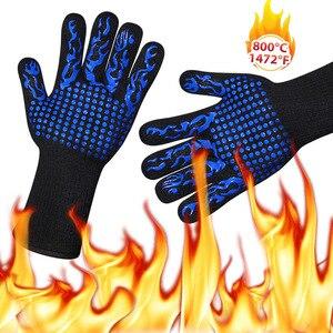 Image 3 - 2pcs 내화 장갑 바베큐 Kevlar 500 학위 바베 큐 난연 내열성 오븐 장갑 열 절연 전자 레인지
