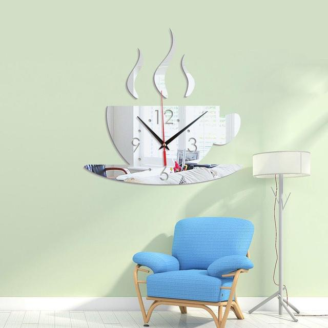 Acrylic Mirror Wall Art Stickers Decor Clock Crystal stereo coffee cup wall clock Family Room Modern Decoration Stickers CMS03