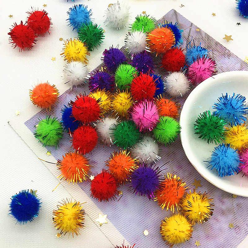 10/15/20/25/30 มม.Glitter PomPom Fluffy Plush CRAFT DIY POM poms ลูกขนตกแต่งคริสต์มาสเด็กของเล่นตุ๊กตาอุปกรณ์เสริม 20g