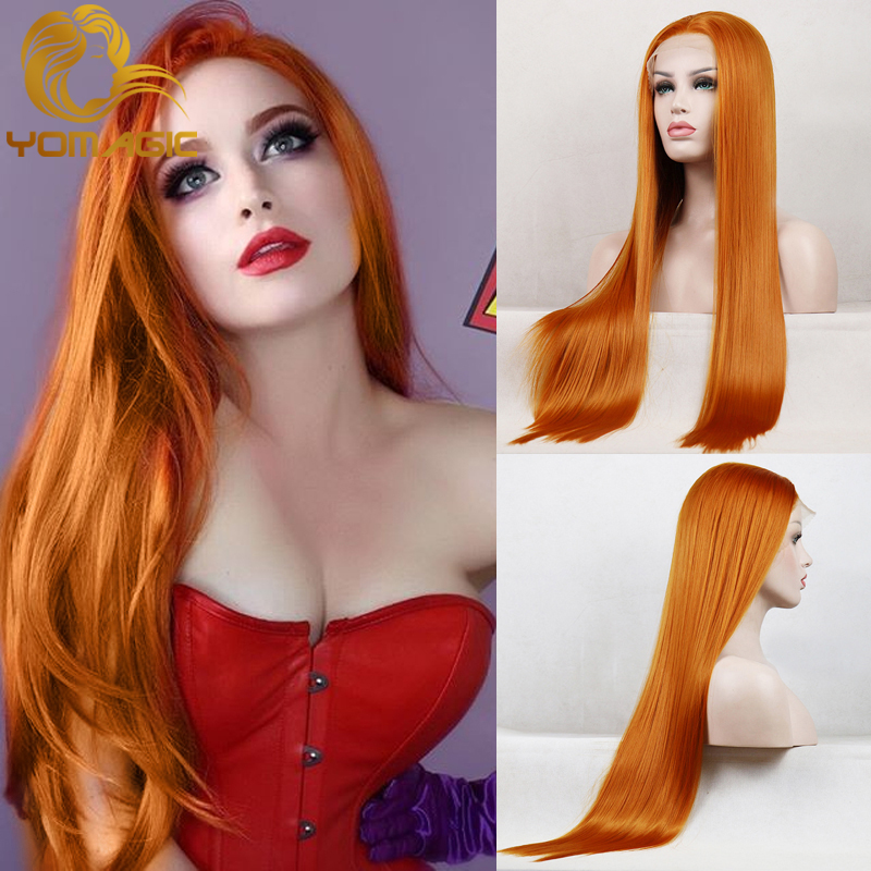 Yomagic Copper Orange Synthetic Hair Wig For Women Party Silk Straight Heat Resistant Fiber Glueless Lace Wig