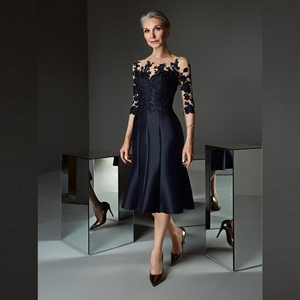 Gorgeous Prussian Blue Knee Length Mother of the Bride Dresses Lace Applique with Three Quarter Sleeves Boat Neck 2020