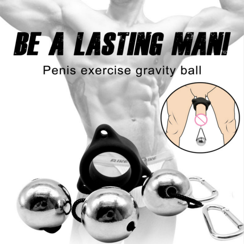 Sex Toys Male Gravity Ball Chastity Device Glans Sex Tools For Men Exerciser Metal Ball Penis Rings Enlargement Pump Stretcher