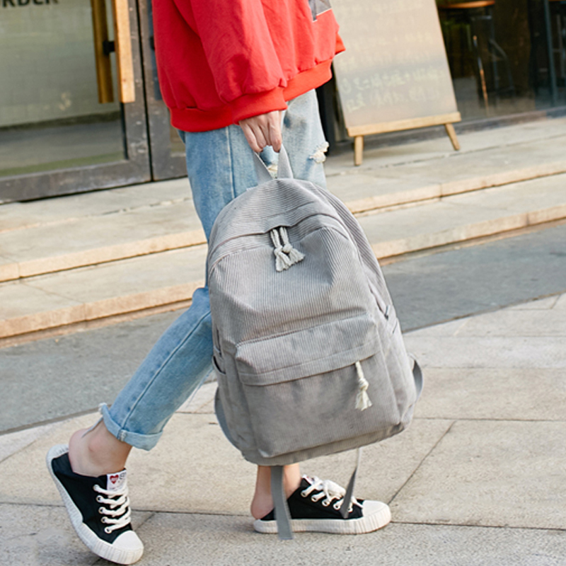 For Teenage Girls School Bag Striped Rucksack Travel Bags Soulder Bag Women Backpack Corduroy Design School Backpacks Small Bac