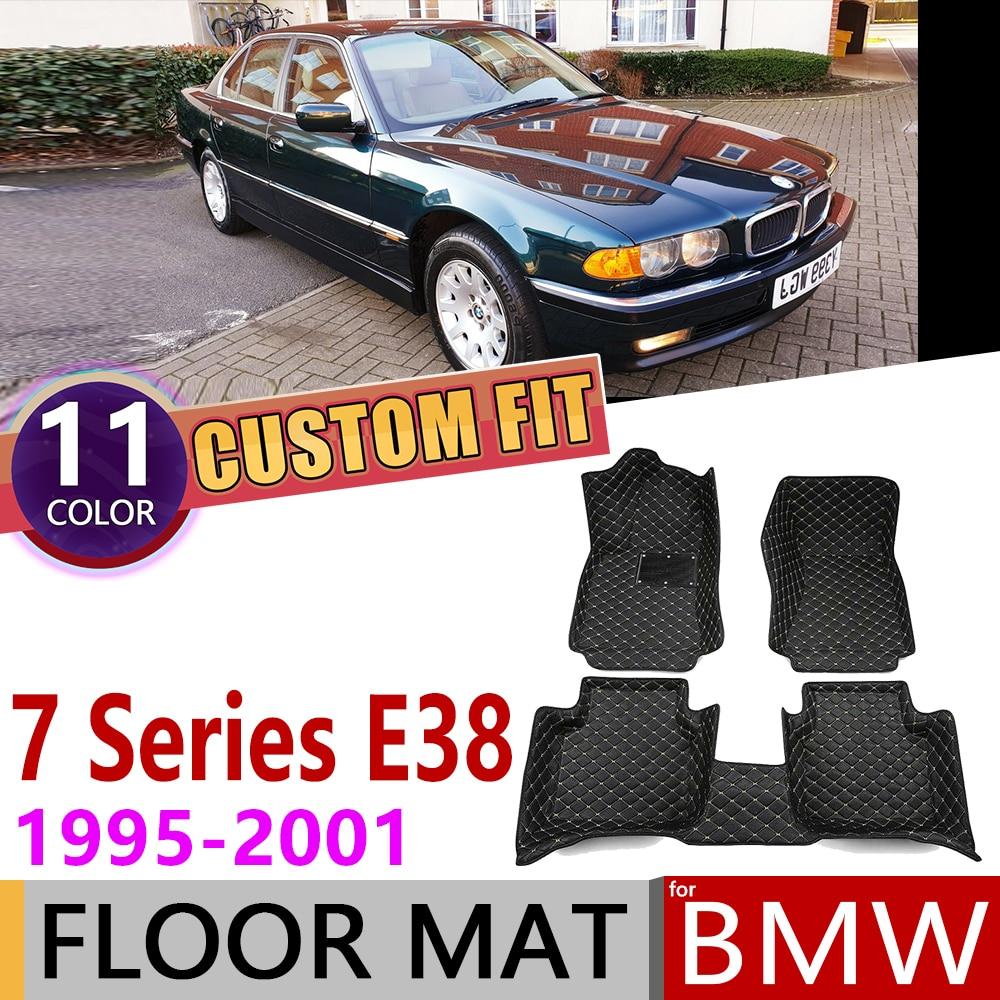 Custom Leather Car Floor Mats For BMW 7 Series E38 LWB Sedan Saloon 1995~2001 5 Seats Foot Pad Carpet Accessories 1996 1997 1998