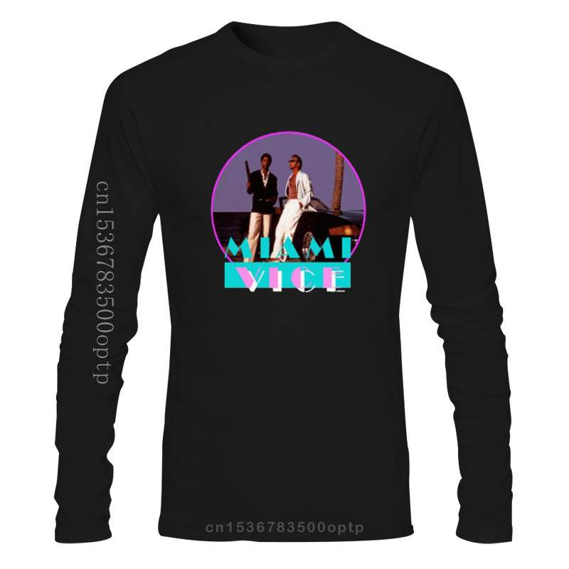 New MIAMI VICE Retro TV Series Don Johnson Men's Black T-Shirt Size S to 3XL T Shirt Casual Men Clothing 2018 Latest