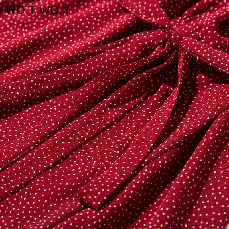 WOTWOY 2020 Bohemian Dot Print Dresses Women Summer Cross V-neck Sashes Mid-Calf Dress Lady Long Sleeve Button Dresses Female 2