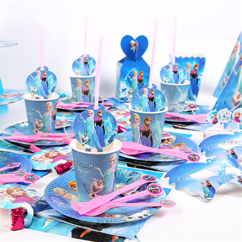 Frozen Party Blue Cartoon Characters Themes Disposable Cutlery Sets Napkins Paper Plates Birthday Party Decorations For Children(China)